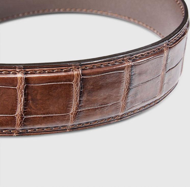 Men's Alligator Leather Ratchet Dress Belt with Automatic ...