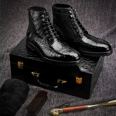 Alligator Leather Wingtip Lace Up Boots
