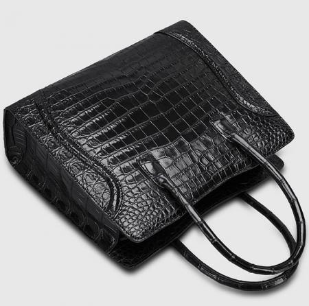 Alligator Skin Top Handle Handbag