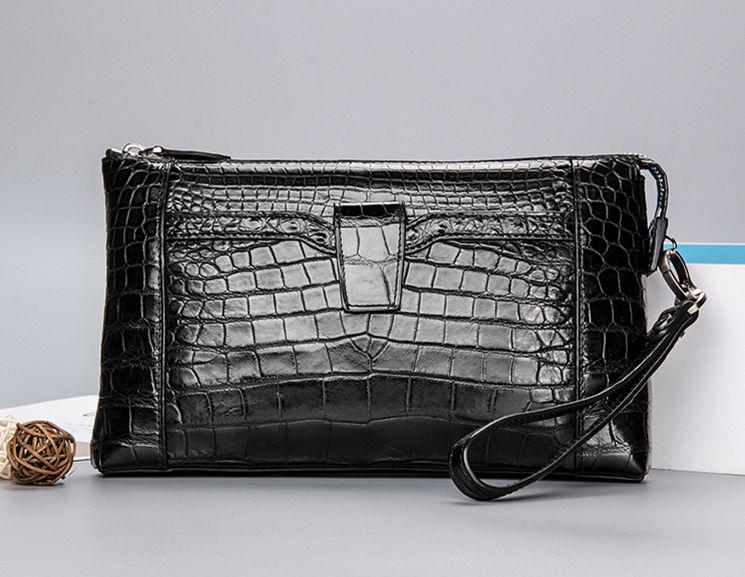 Alligator Skin Wrist Bag for Men