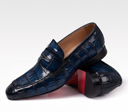 Casual Alligator Shoes, Luxury Alligator Slip-On Loafers for Men-Blue