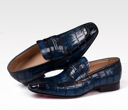 Casual Alligator Shoes, Luxury Alligator Slip-On Loafers for Men-Blue-Details