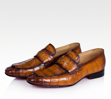 Casual Alligator Shoes, Luxury Alligator Slip-On Loafers for Men-Brown