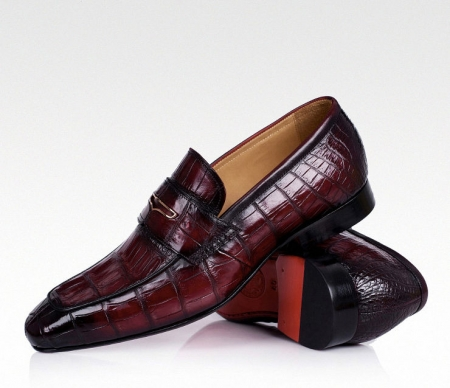 Casual Alligator Shoes, Luxury Alligator Slip-On Loafers for Men-Wine Red