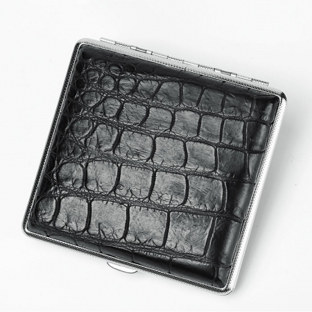 Cigarette Crocodile Alligator Belly Skin Case - Black