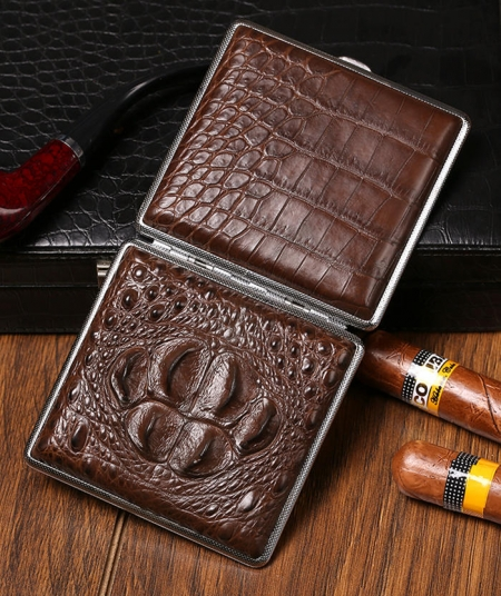 Cigarette Crocodile Alligator Leather Case - 1