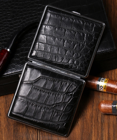 Cigarette Crocodile Alligator Leather Case - 2