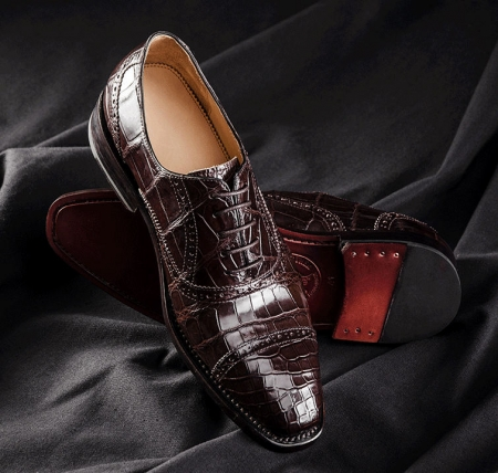 Classic Modern Round Captoe Alligator Leather Shoes-1