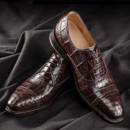 Classic Modern Round Captoe Alligator Leather Shoes