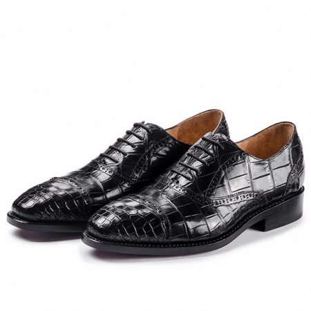 Classic Modern Round Captoe Alligator Leather Shoes-Black