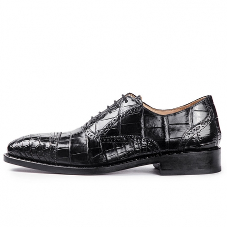 Classic Modern Round Captoe Alligator Leather Shoes-Side