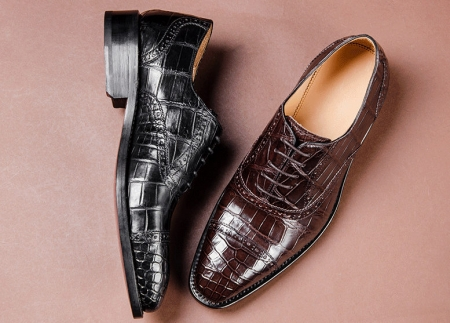 Classic Modern Round Captoe Alligator Leather Shoes for Men