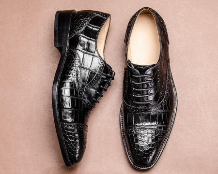Classic Modern Round Cap toe Alligator Skin Shoes-Black-Display