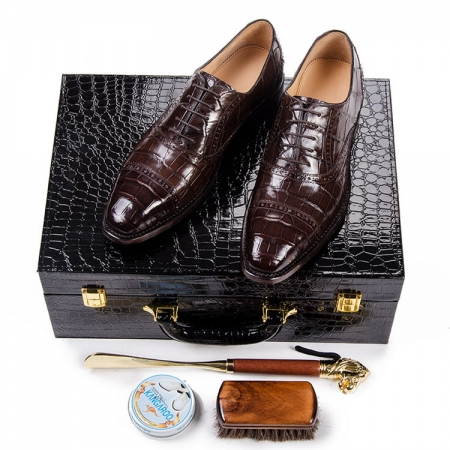 Classic Modern Round Captoe Genuine Alligator Leather Shoes