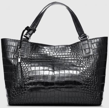 Designer Alligator Leather Shoulder Handbag Tote Top Handbag-Front