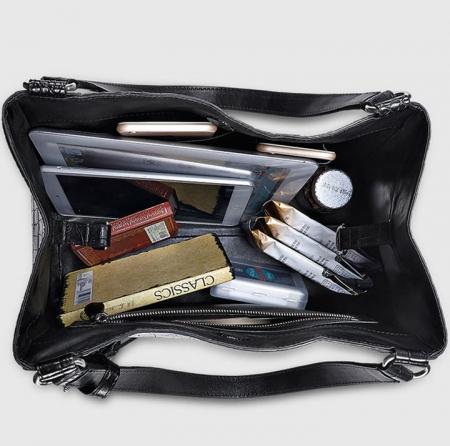 Designer Alligator Leather Shoulder Handbag Tote Top Handbag-Inside