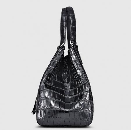 Designer Alligator Leather Shoulder Handbag Tote Top Handbag-Side