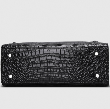 Designer Alligator Skin Top Handle Handbag-Bottom