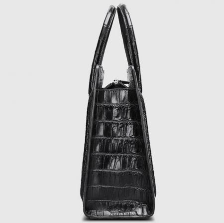 Designer Alligator Skin Top Handle Handbag-Side