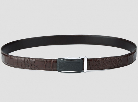 Designer Genuine Alligator Leather Belt-Brown