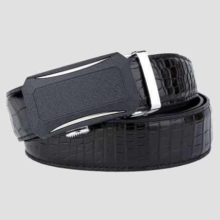 Designer Genuine Alligator Leather Belt for Men-Black