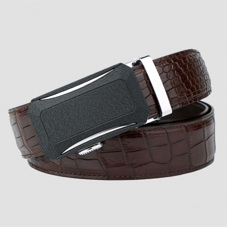 Designer Genuine Alligator Leather Belt for Men-Brown