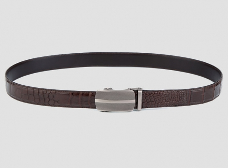 Formal Dress Ratchet Alligator Leather Belt-Brown