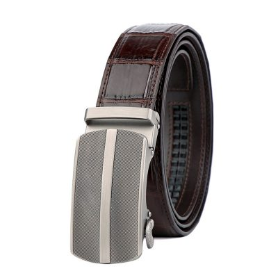 Formal Dress Ratchet Alligator Leather Belt Business Belt for Men