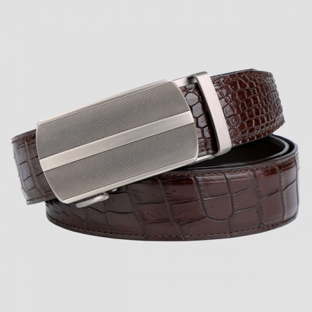 Formal Dress Ratchet Alligator Leather Belt Business Belt for Men-Brown