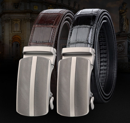 Formal Dress Ratchet Alligator Leather Business Belts