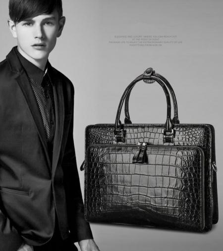 Genuine Alligator Leather Briefcase Messenger Bag Attache Case