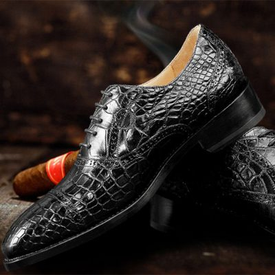 Genuine Alligator Leather Cap-Toe Oxford Shoes
