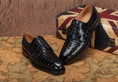 Genuine Alligator Leather Lace-up Shoes-Black