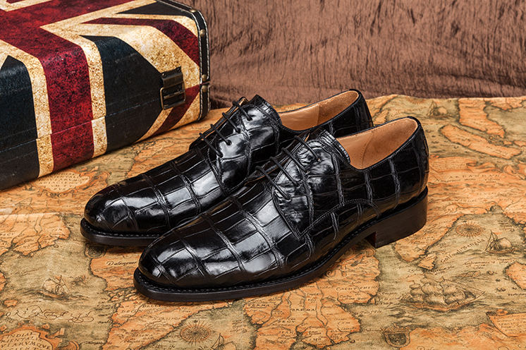 Genuine Alligator Leather Lace-up Shoes