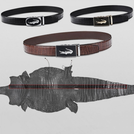 Genuine Alligator Leather Ratchet Dress Belts