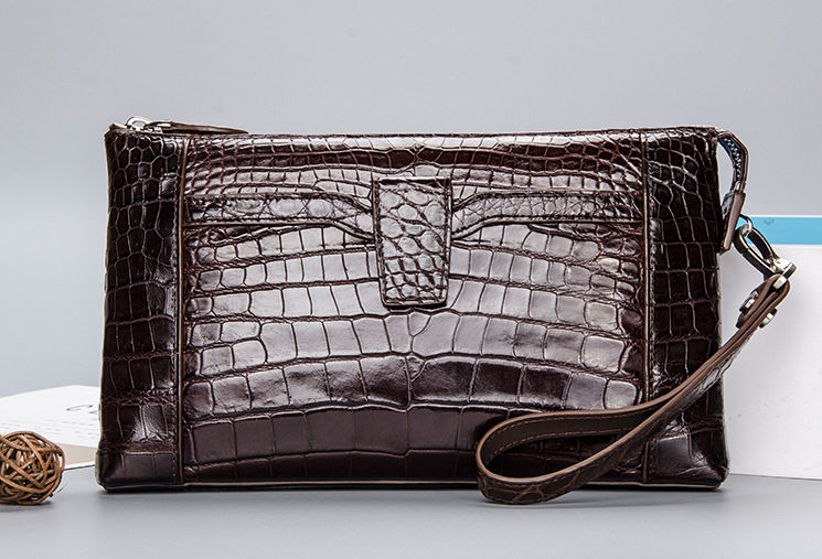 Genuine Alligator Skin Wrist Bag