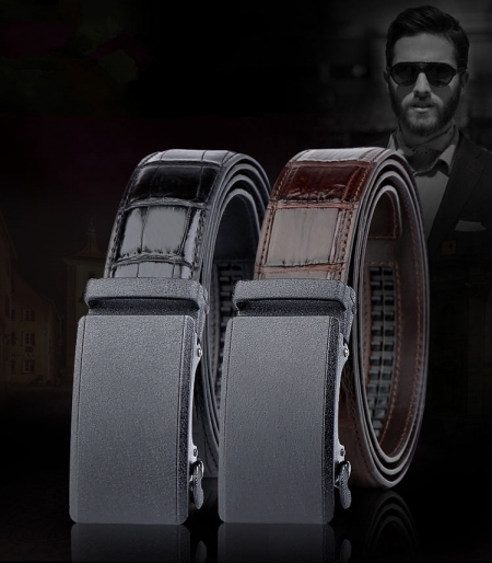 Genuine American Alligator Leather Dress Belt Automatic Buckle