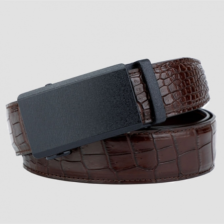 Genuine American Alligator Leather Dress Belt Automatic Buckle-Brown
