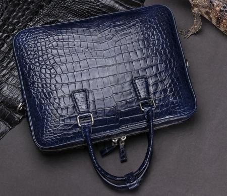 Luxury Alligator Business Bag, Alligator Leather Briefcase for Men-Blue-Display