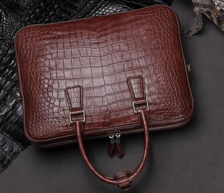 Luxury Alligator Business Bag, Alligator Leather Briefcase for Men-Wine Red