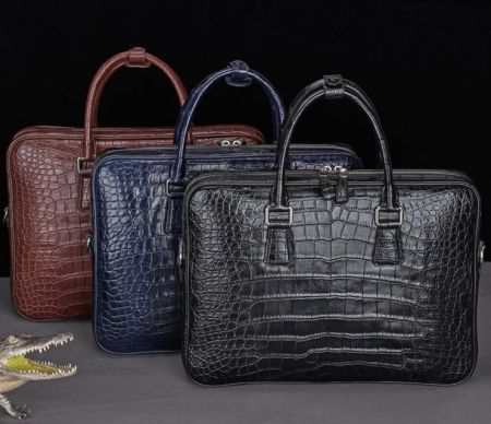 Luxury Alligator Business Bags, Alligator Leather Briefcases for Men