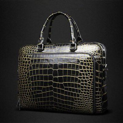 Luxury Alligator Leather Briefcase Shoulder Laptop Business Bag for Men