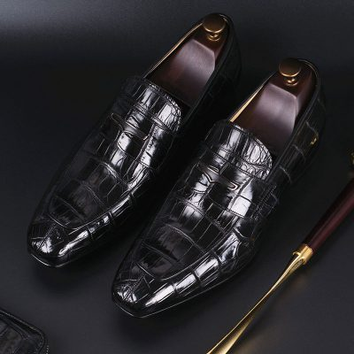 Luxury Alligator Slip-On Loafers for Men-Black