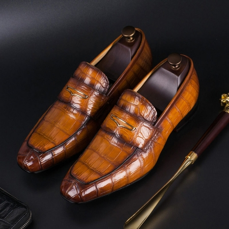 Luxury Alligator Slip-On Loafers for Men-Brown