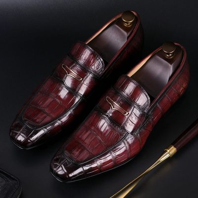Luxury Alligator Slip-On Loafers for Men-Wine Red