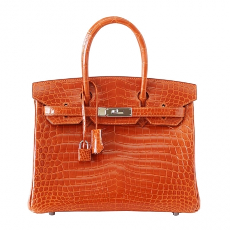 Luxury Genuine Alligator Handbag-Orange