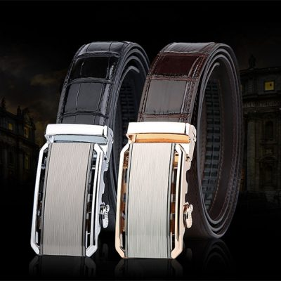 Mens Alligator Belt with Automatic Buckle
