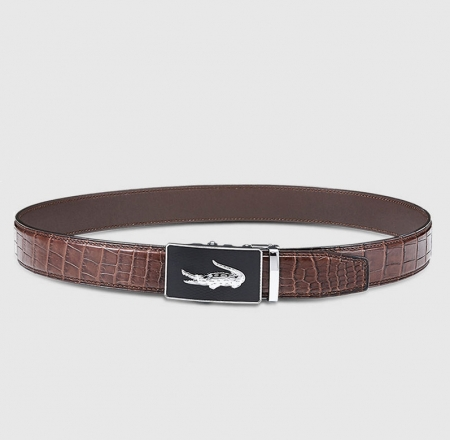 Mens Alligator Leather Ratchet Dress Belt with Automatic Buckle