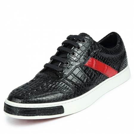 Men's Daily Fashion Crocodile Skin Sneaker-With a Red Stripe