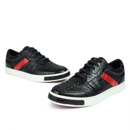 Men's Daily Fashion Crocodile Skin Sneakers-With a Red Stripe-1